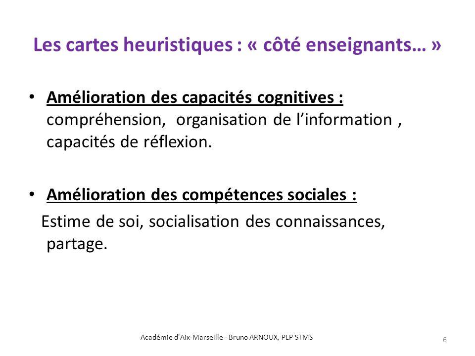 Les cartes heuristiques : « côté enseignants… » Amélioration des capacités cognitives : compréhension, organisation de linformation, capacités de réfl