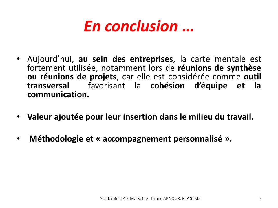 En conclusion … Aujourdhui, au sein des entreprises, la carte mentale est fortement utilisée, notamment lors de réunions de synthèse ou réunions de pr