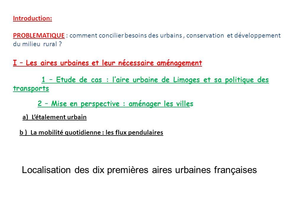 Introduction: PROBLEMATIQUE : comment concilier besoins des urbains, conservation et développement du milieu rural ? I – Les aires urbaines et leur né