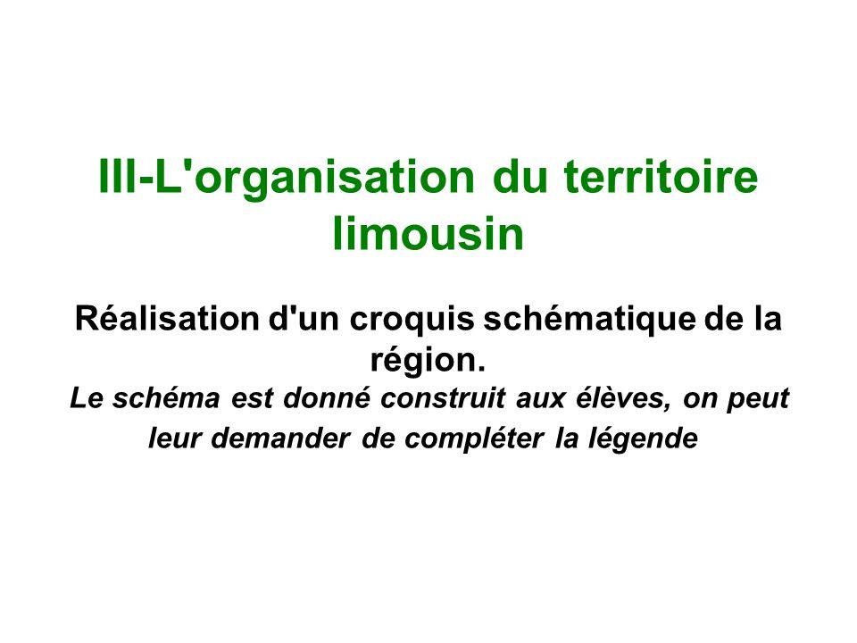 III-L'organisation du territoire limousin Réalisation d'un croquis schématique de la région. Le schéma est donné construit aux élèves, on peut leur de
