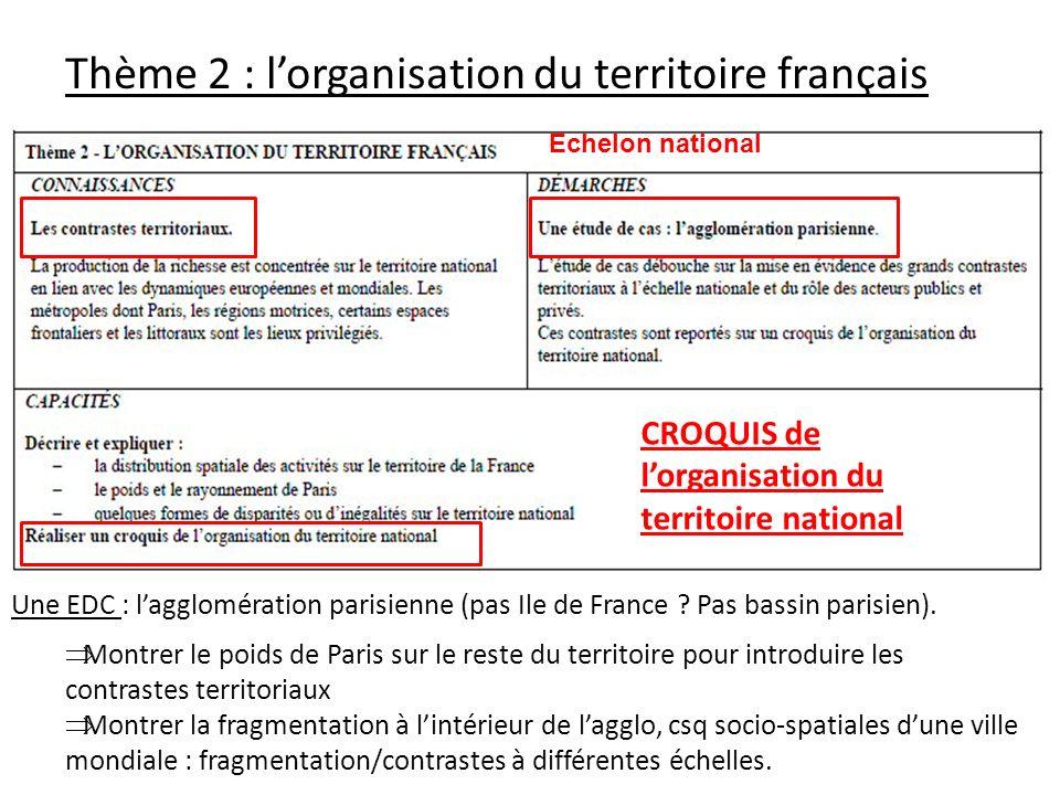 Thème 2 : lorganisation du territoire français Une EDC : lagglomération parisienne (pas Ile de France ? Pas bassin parisien). Montrer le poids de Pari