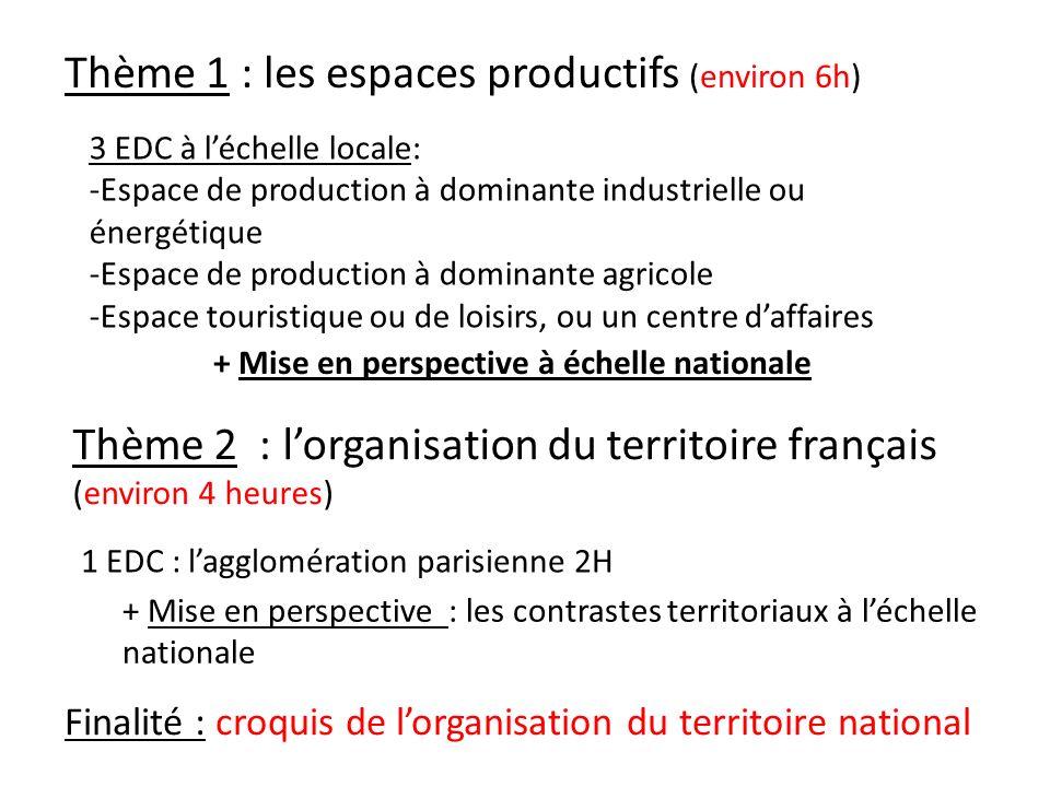 Thème 1 : les espaces productifs (environ 6h) Thème 2 : lorganisation du territoire français (environ 4 heures) 3 EDC à léchelle locale: -Espace de pr