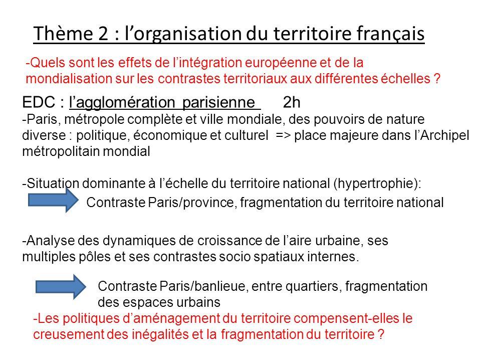 Thème 2 : lorganisation du territoire français -Quels sont les effets de lintégration européenne et de la mondialisation sur les contrastes territoria