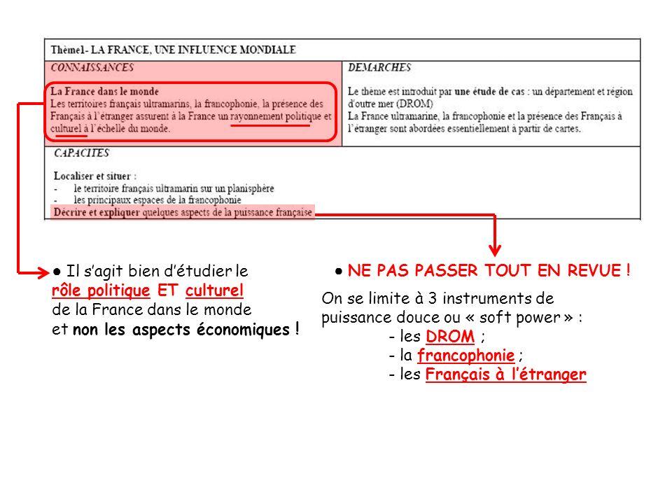 Il sagit bien détudier le rôle politique ET culturel de la France dans le monde et non les aspects économiques ! NE PAS PASSER TOUT EN REVUE ! On se l