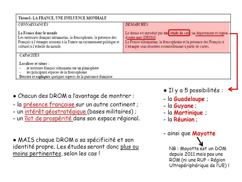 Il y a 5 possibilités : - la Guadeloupe ; - la Guyane ; - la Martinique ; - la Réunion ; - ainsi que Mayotte NB : Mayotte est un DOM depuis 2011 mais