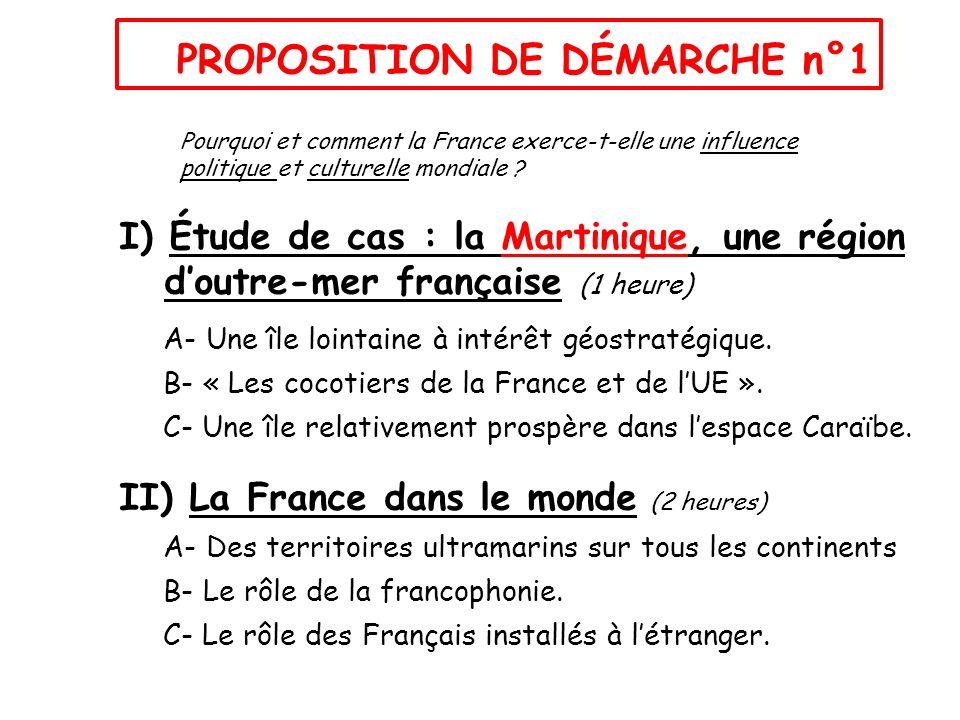 I) Étude de cas : la Martinique, une région doutre-mer française (1 heure) A- Une île lointaine à intérêt géostratégique. B- « Les cocotiers de la Fra