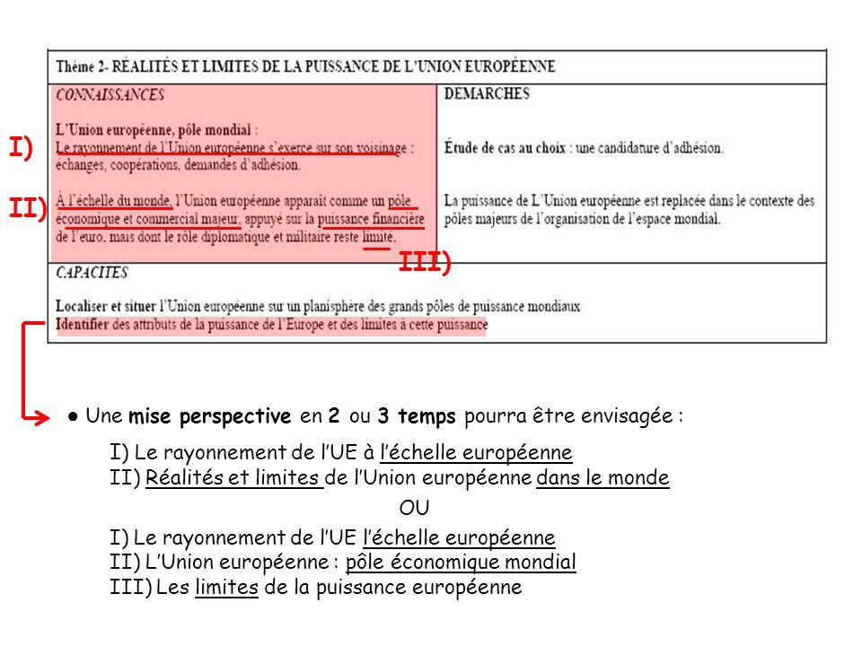 II) I) Une mise perspective en 2 ou 3 temps pourra être envisagée : I ) Le rayonnement de lUE à léchelle européenne II) Réalités et limites de lUnion