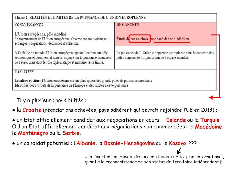 Il y a plusieurs possibilités : la Croatie (négociations achevées, pays adhérent qui devrait rejoindre lUE en 2013) ; un Etat officiellement candidat