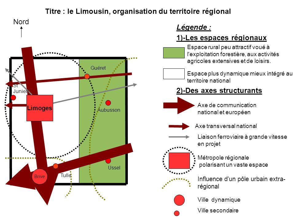 Nord Légende : Espace rural peu attractif voué à l'exploitation forestière, aux activités agricoles extensives et de loisirs. Espace plus dynamique mi
