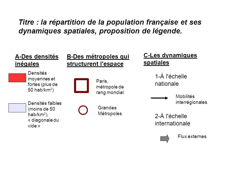 Titre : la répartition de la population française et ses dynamiques spatiales, proposition de légende. A-Des densités inégales B-Des métropoles qui st