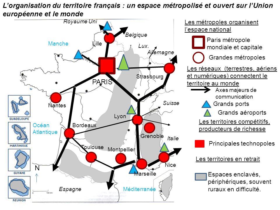 Les métropoles organisent lespace national Paris métropole mondiale et capitale Grandes métropoles Les réseaux (terrestres, aériens et numériques) con