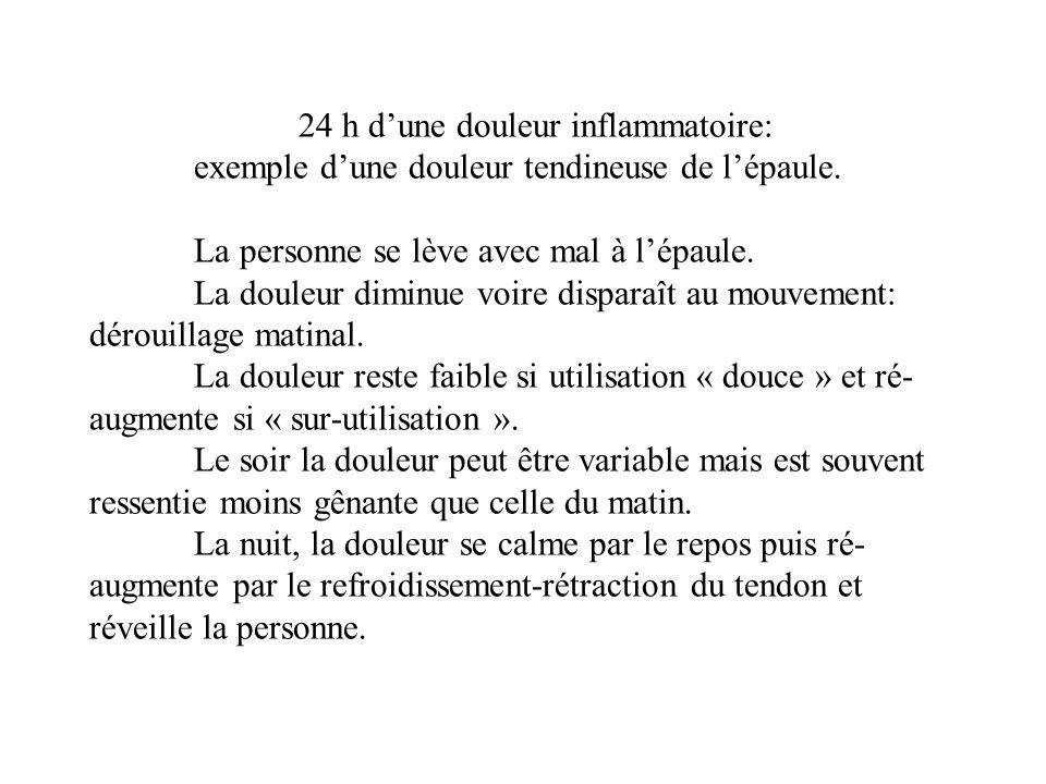 24 h dune douleur inflammatoire: exemple dune douleur tendineuse de lépaule.
