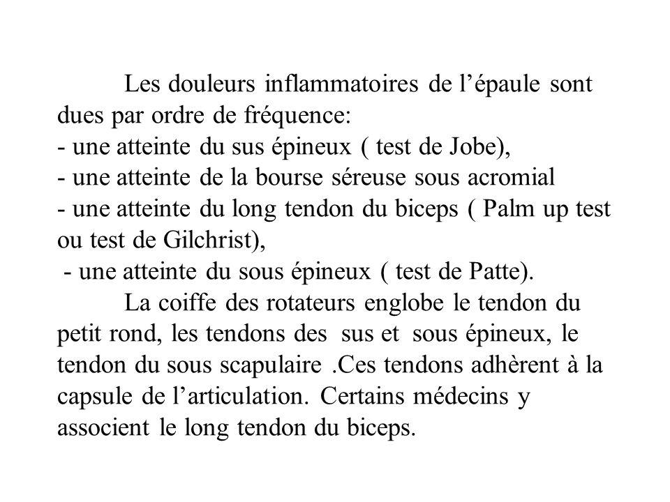 Les douleurs inflammatoires de lépaule sont dues par ordre de fréquence: - une atteinte du sus épineux ( test de Jobe), - une atteinte de la bourse séreuse sous acromial - une atteinte du long tendon du biceps ( Palm up test ou test de Gilchrist), - une atteinte du sous épineux ( test de Patte).