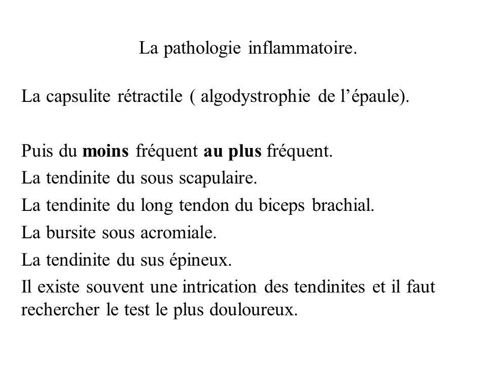 La pathologie inflammatoire. La capsulite rétractile ( algodystrophie de lépaule). Puis du moins fréquent au plus fréquent. La tendinite du sous scapu