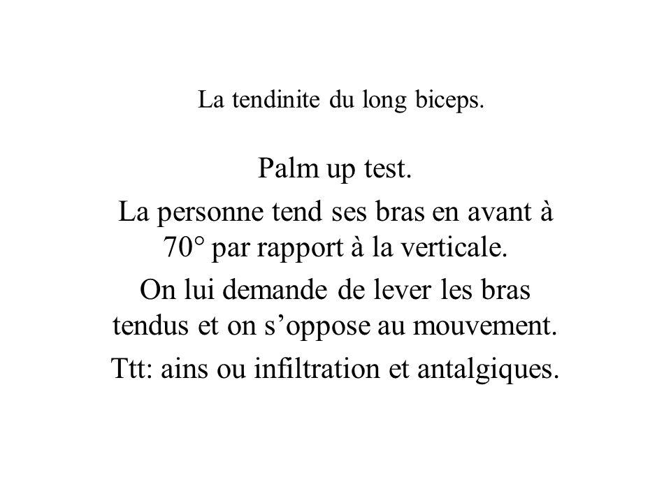 La tendinite du long biceps.Palm up test.