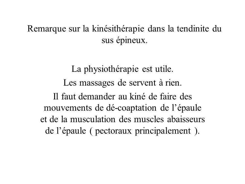 Remarque sur la kinésithérapie dans la tendinite du sus épineux. La physiothérapie est utile. Les massages de servent à rien. Il faut demander au kiné