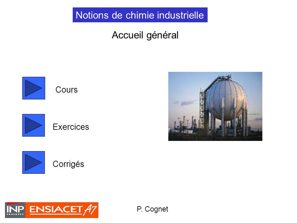1 Notions de chimie industrielle Cours Exercices P. Cognet Corrigés Accueil général
