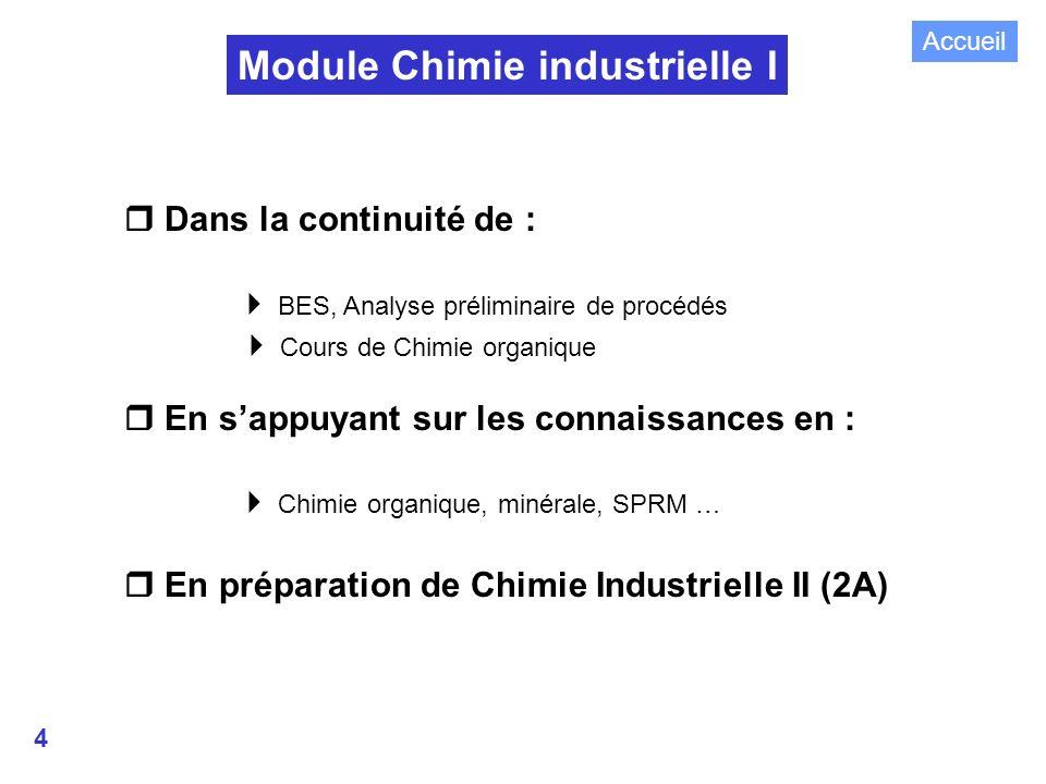 4 Module Chimie industrielle I Dans la continuité de : BES, Analyse préliminaire de procédés Cours de Chimie organique En sappuyant sur les connaissances en : Chimie organique, minérale, SPRM … En préparation de Chimie Industrielle II (2A) Accueil