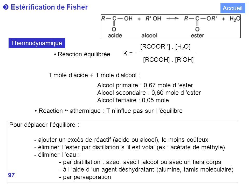 97 Estérification de Fisher Réaction équilibrée K = [RCOOR ].