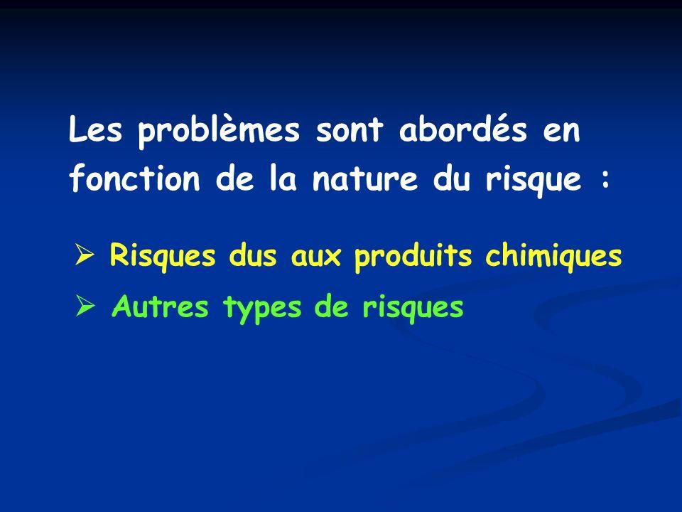 A - CHIMIQUES A - RISQUES CHIMIQUES I – RISQUES DINTOXICATION Substances toxiques classées selon : - voie de pénétration dans l organisme - type d effet toxique - mode d action