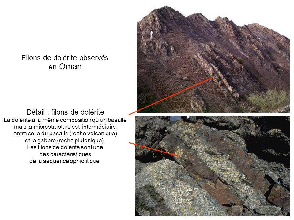 Filons de dolérite observés en Oman Détail : filons de dolérite La dolérite a la même composition quun basalte mais la microstructure est intermédiair