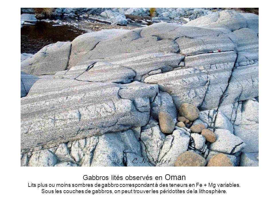 Gabbros lités observés en Oman Lits plus ou moins sombres de gabbro correspondant à des teneurs en Fe + Mg variables. Sous les couches de gabbros, on