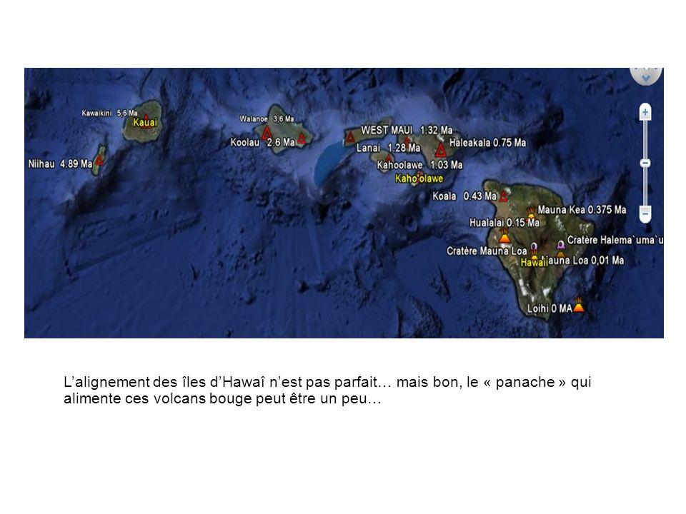 Lalignement des îles dHawaî nest pas parfait… mais bon, le « panache » qui alimente ces volcans bouge peut être un peu…