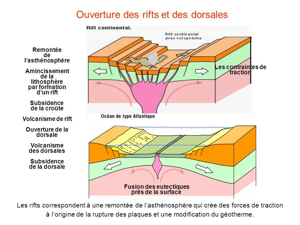 Ouverture des rifts et des dorsales Remontée de lasthénosphère Amincissement de la lithosphère par formation dun rift Subsidence de la croûte Volcanis