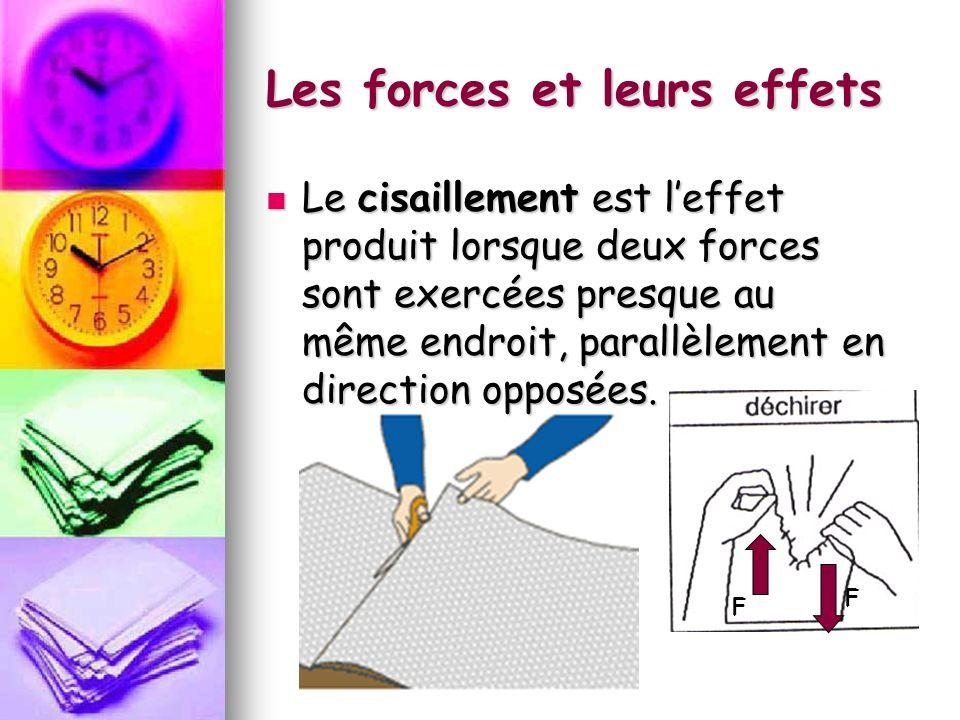 Les forces et leurs effets Le cisaillement est leffet produit lorsque deux forces sont exercées presque au même endroit, parallèlement en direction opposées.