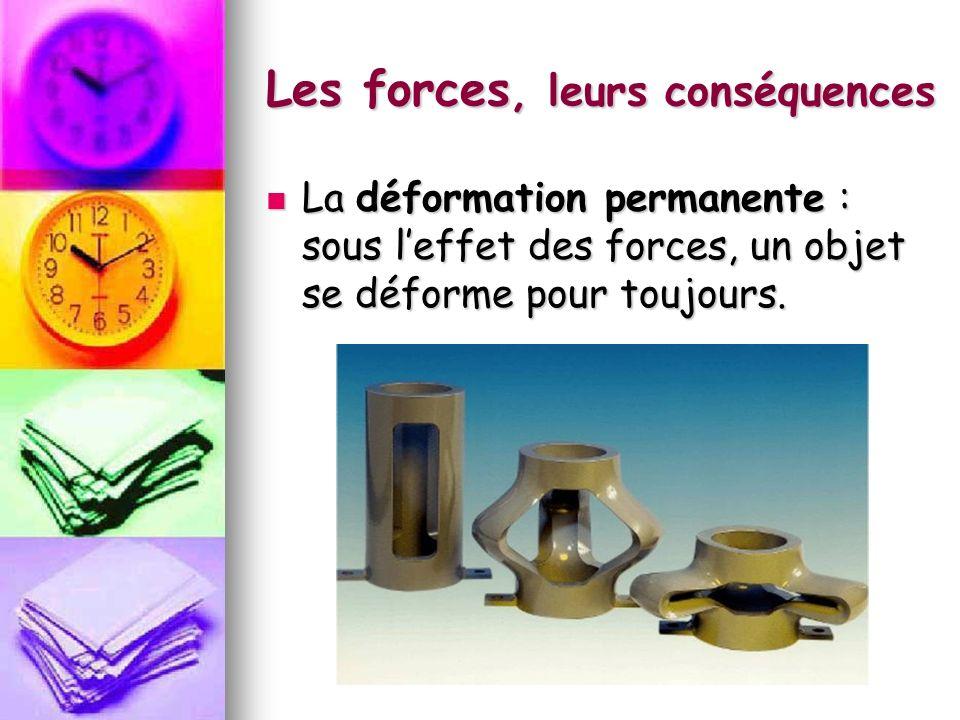 Les forces, leurs conséquences La déformation permanente : sous leffet des forces, un objet se déforme pour toujours. La déformation permanente : sous