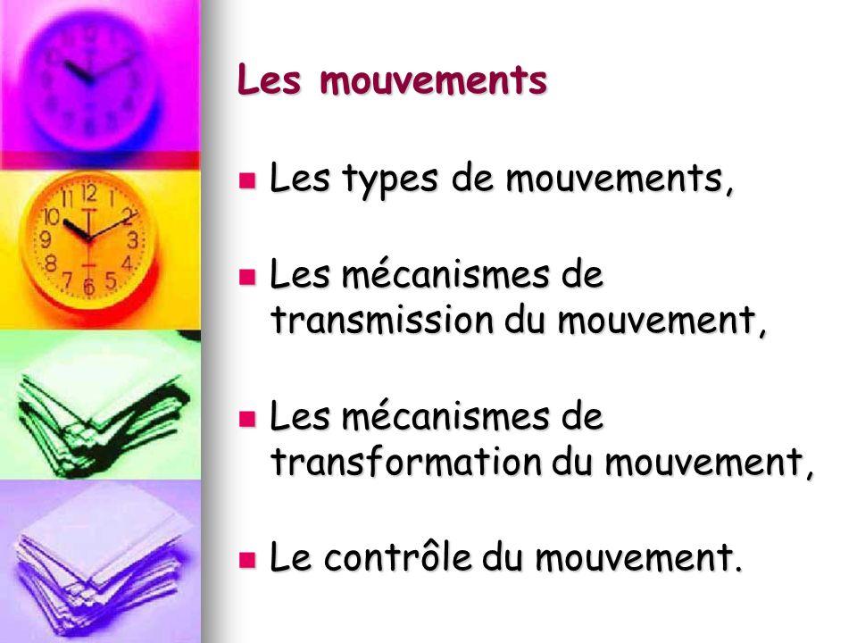 Les mouvements Les types de mouvements, Les types de mouvements, Les mécanismes de transmission du mouvement, Les mécanismes de transmission du mouvement, Les mécanismes de transformation du mouvement, Les mécanismes de transformation du mouvement, Le contrôle du mouvement.