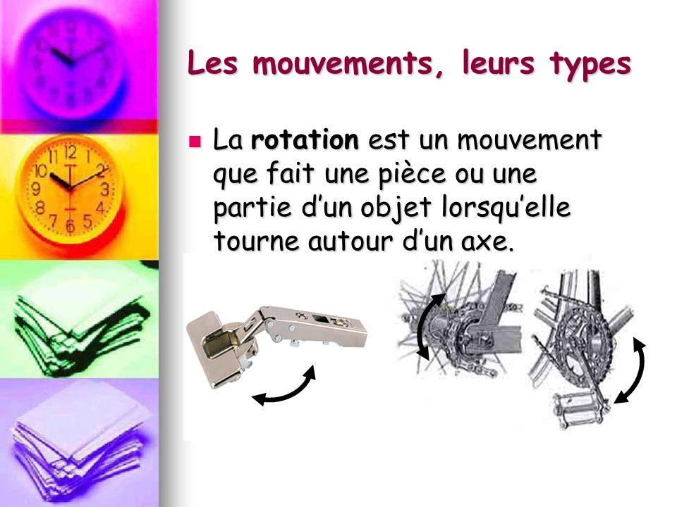 Les mouvements, leurs types La rotation est un mouvement que fait une pièce ou une partie dun objet lorsquelle tourne autour dun axe. La rotation est