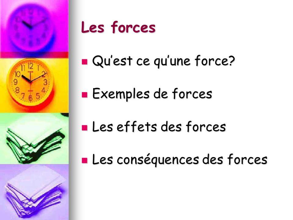 Les forces Quest ce quune force? Quest ce quune force? Exemples de forces Exemples de forces Les effets des forces Les effets des forces Les conséquen
