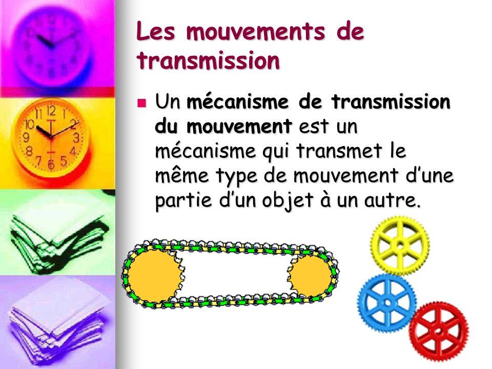 Les mouvements de transmission Un mécanisme de transmission du mouvement est un mécanisme qui transmet le même type de mouvement dune partie dun objet à un autre.
