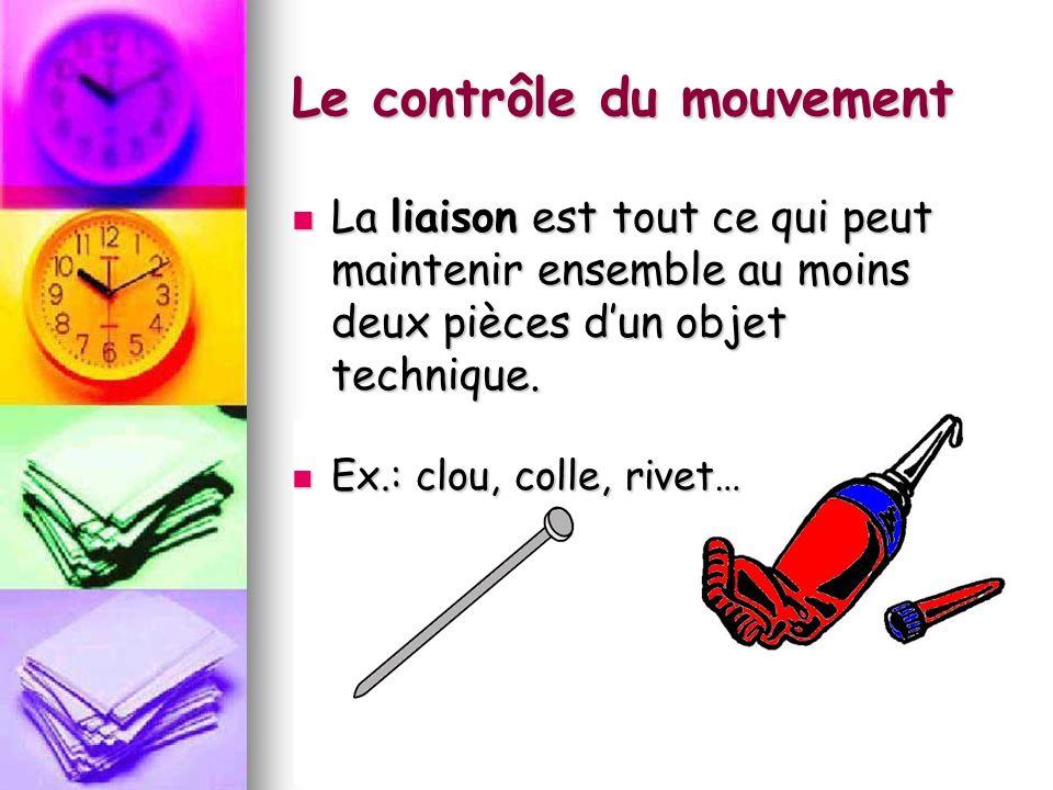 Le contrôle du mouvement La liaison est tout ce qui peut maintenir ensemble au moins deux pièces dun objet technique. La liaison est tout ce qui peut