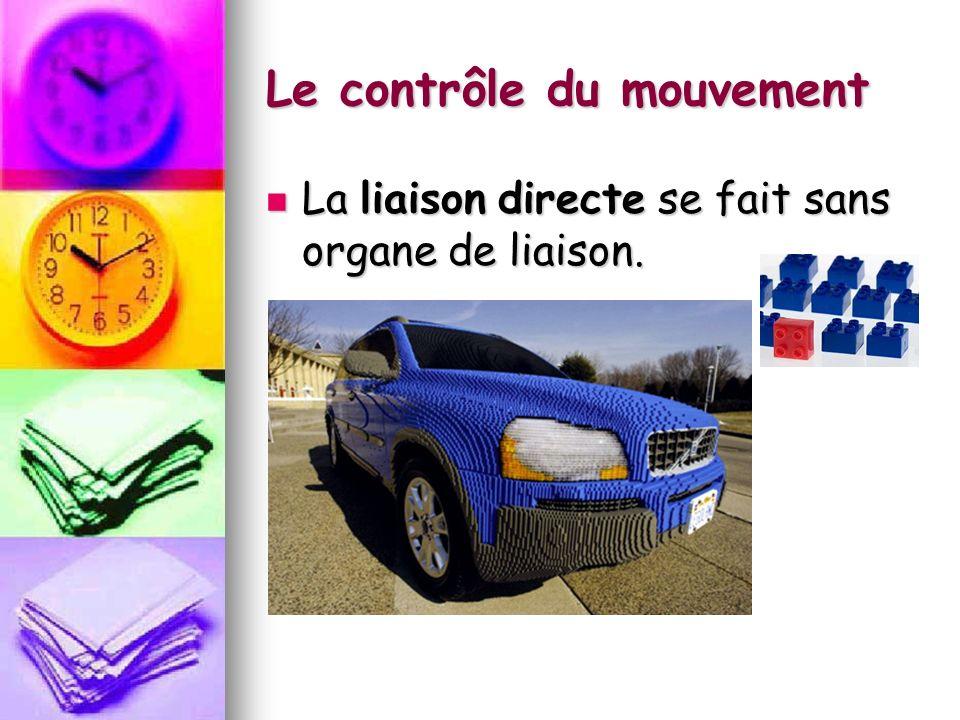 Le contrôle du mouvement La liaison directe se fait sans organe de liaison. La liaison directe se fait sans organe de liaison.