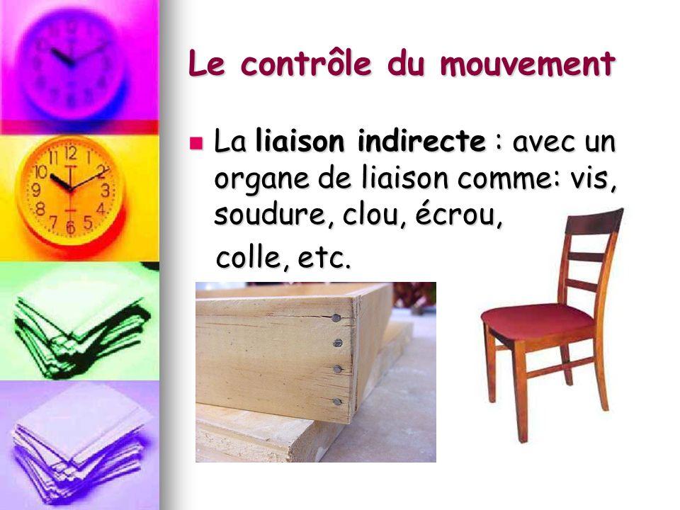 Le contrôle du mouvement La liaison indirecte : avec un organe de liaison comme: vis, soudure, clou, écrou, La liaison indirecte : avec un organe de liaison comme: vis, soudure, clou, écrou, colle, etc.