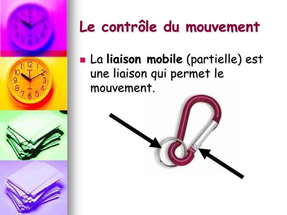 Le contrôle du mouvement La liaison mobile (partielle) est une liaison qui permet le mouvement. La liaison mobile (partielle) est une liaison qui perm