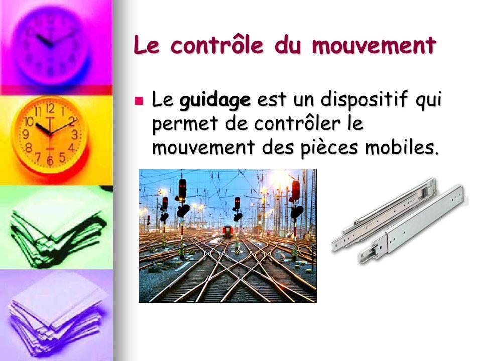 Le contrôle du mouvement Le guidage est un dispositif qui permet de contrôler le mouvement des pièces mobiles. Le guidage est un dispositif qui permet