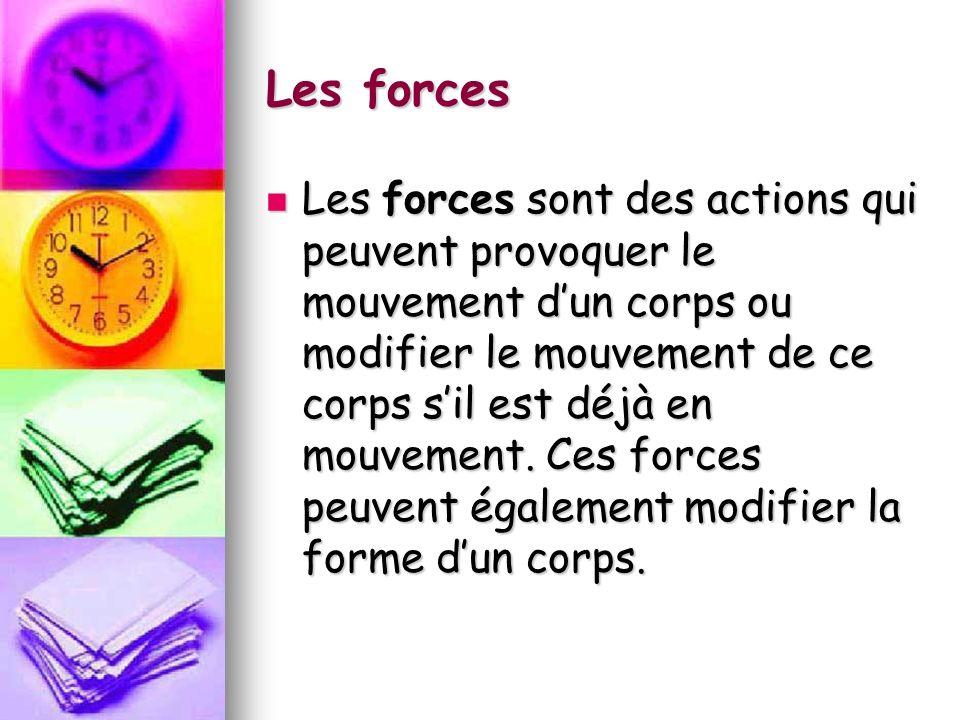 Les forces Les forces sont des actions qui peuvent provoquer le mouvement dun corps ou modifier le mouvement de ce corps sil est déjà en mouvement. Ce