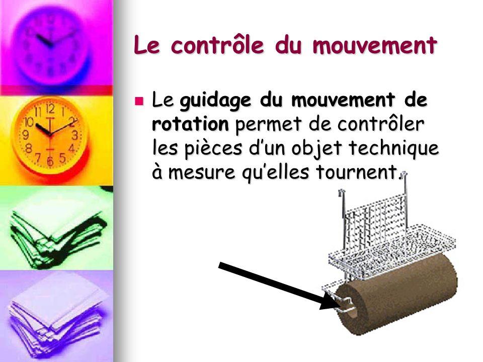 Le contrôle du mouvement Le guidage du mouvement de rotation permet de contrôler les pièces dun objet technique à mesure quelles tournent. Le guidage