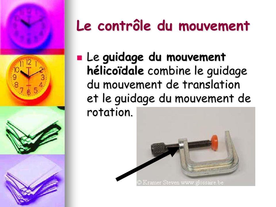 Le contrôle du mouvement Le guidage du mouvement hélicoïdale combine le guidage du mouvement de translation et le guidage du mouvement de rotation.