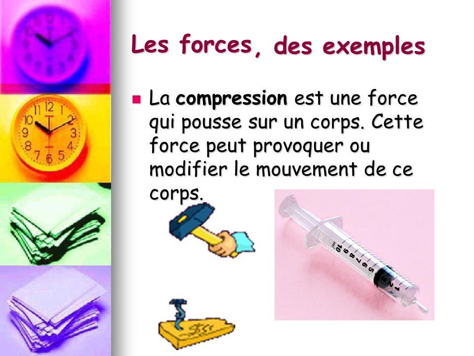 Les forces La compression est une force qui pousse sur un corps. Cette force peut provoquer ou modifier le mouvement de ce corps. La compression est u