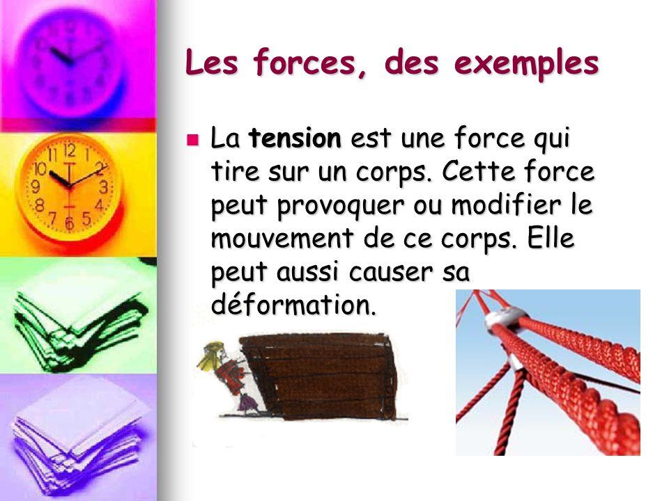 Les forces, des exemples La tension est une force qui tire sur un corps. Cette force peut provoquer ou modifier le mouvement de ce corps. Elle peut au