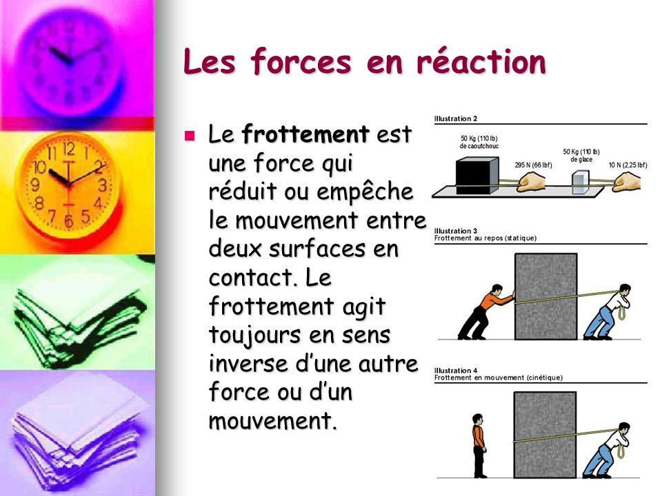 Les forces en réaction Le frottement est une force qui réduit ou empêche le mouvement entre deux surfaces en contact. Le frottement agit toujours en s