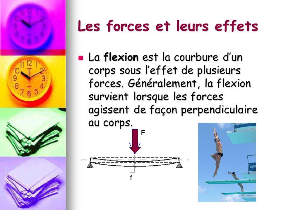 Les forces et leurs effets La flexion est la courbure dun corps sous leffet de plusieurs forces. Généralement, la flexion survient lorsque les forces