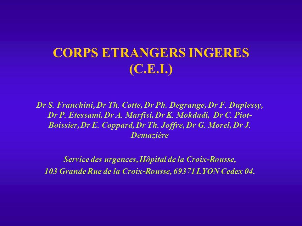 CORPS ETRANGERS INGERES INTRODUCTION Les Corps Étrangers Ingérés constituent un motif fréquent de consultation au S.A.U..