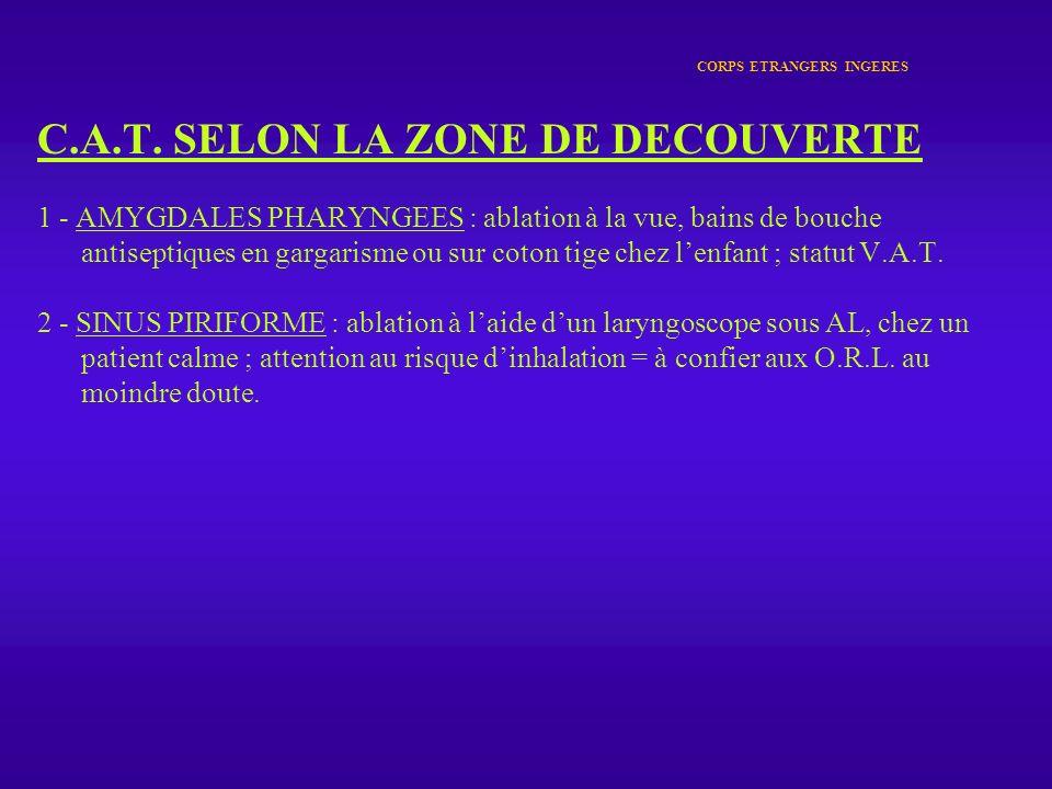CORPS ETRANGERS INGERES C.A.T. SELON LA ZONE DE DECOUVERTE 1 - AMYGDALES PHARYNGEES : ablation à la vue, bains de bouche antiseptiques en gargarisme o