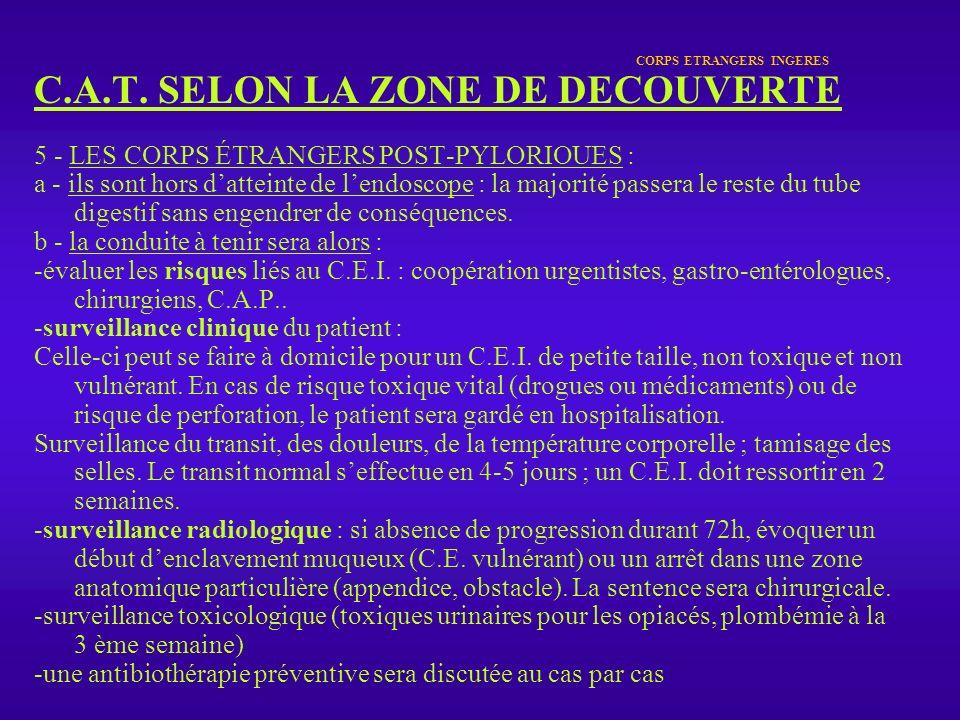 CORPS ETRANGERS INGERES C.A.T. SELON LA ZONE DE DECOUVERTE 5 - LES CORPS ÉTRANGERS POST-PYLORIOUES : a - ils sont hors datteinte de lendoscope : la ma