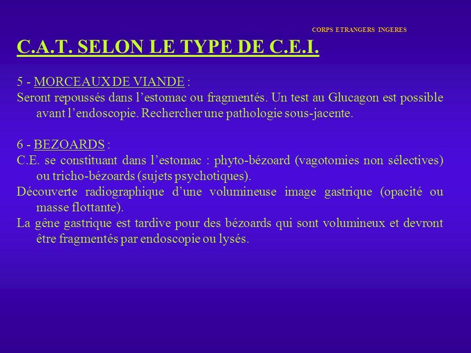 CORPS ETRANGERS INGERES C.A.T. SELON LE TYPE DE C.E.I. 5 - MORCEAUX DE VIANDE : Seront repoussés dans lestomac ou fragmentés. Un test au Glucagon est